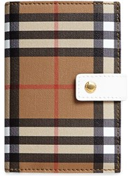 Burberry Vintage Check And Leather Folding Wallet Nude And Neutrals