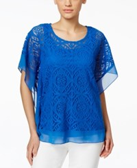 Jm Collection Crochet Chiffon Hem Poncho Top Only At Macy's Blue Steel