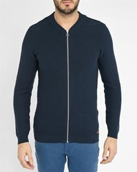 Knowledge Cotton Apparel Navy Triangle Zipped Knit Cardigan
