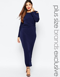 Truly You Cold Shoulder Maxi Dress With Knot Front Navy