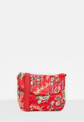 Missguided Red Quilted Oriental Satin Cross Body Bag Raspberry