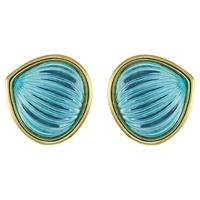 Eclectica Vintage 1980S Grosse Melon Cut Glass Clip On Earrings Blue
