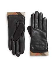 Burberry Cashmere Check Lined Leather Gloves Black