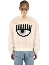 Chiara Ferragni Eye Patch Faux Fur Bomber Jacket White