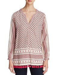 Scotch And Soda Tasseled Scarf Print Tunic White And Pink Print