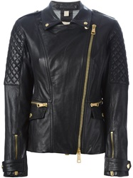 Burberry Brit Quilted Sleeve Biker Jacket Black