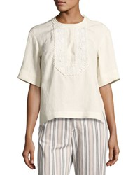 Isabel Marant Embroidered Linen Half Sleeve Top White