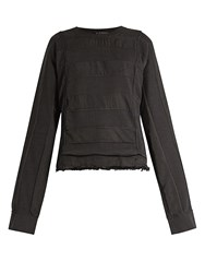 Haider Ackermann Polonium Raw Hem Cotton Sweatshirt Black