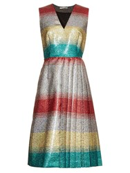 Marco De Vincenzo Metallic Striped V Neck Dress