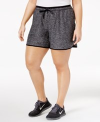 Ideology Plus Size Heathered Performance Shorts Only At Macy's Noir