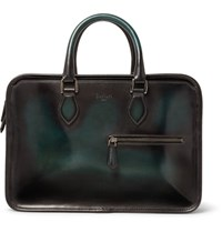 Berluti Un Jour Mini Polished Leather Briefcase Green