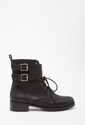 Forever 21 Buckled Faux Leather Boots Black