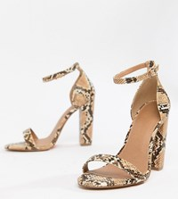 c7b8ce445f24 Asos Design Wide Fit Highball Barely There Heeled Sandals Multi