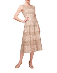 Kay Unger Banded Lace Metallic Dress
