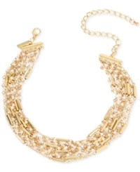 Inc International Concepts Gold Tone Imitation Pearl Multi Row Choker Necklace Only At Macy's