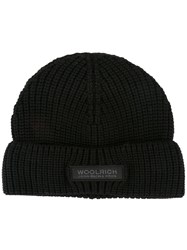 Woolrich Knitted Logo Patch Beanie Black