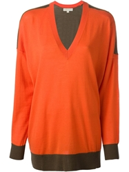 Michael Michael Kors V Neck Sweater Yellow And Orange