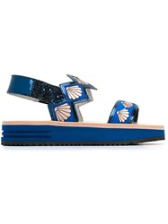 Markus Lupfer Sling Back Shell Sandals Blue