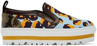 Msgm Multicolor Leopard Platform Slip On Sneakers