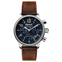 Ingersoll I03803 Men's The Apsley Chronograph Date Leather Strap Watch Dark Brown Navy