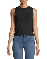 Dex Lace Up Side Sleeveless Blouse Black
