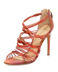 Strappy Watersnake High Heel Sandal Orange Alexandre Birman