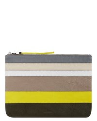 Jaeger Leather Stripe Panel Clutch Yellow