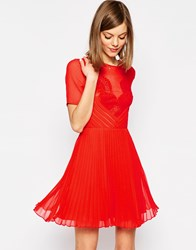 Asos Lace And Pleat Skater Mini Dress Red