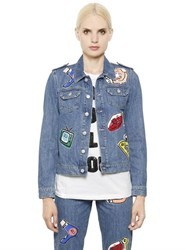Au Jour Le Jour Embellished Patch Cotton Denim Jacket