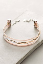 Anthropologie Floral Ribbon Choker Necklace Pink