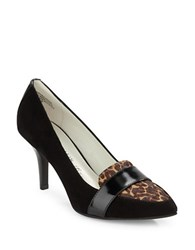 Anne Klein Youly Leopard Print Calf Hair And Suede Pumps Black