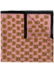 Moschino Printed Teddy Bear Scarf Pink