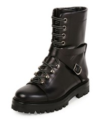 Valentino Rockstud Leather Combat Boot Nero