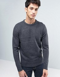 Brave Soul Mens Crew Neck Jumper With Rib Knit Grey