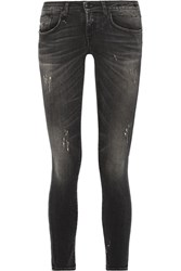R 13 R13 Kate Distressed Low Rise Skinny Jeans Charcoal Usd