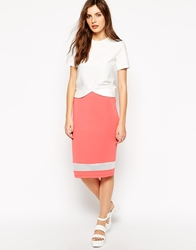 Rock And Religion Midi Skirt With Mesh Panel Coral