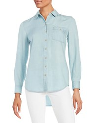 Lord And Taylor Roll Tab Button Shirt Ice Wash