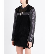 Junya Watanabe Belted Velvet And Faux Leather Dress Black
