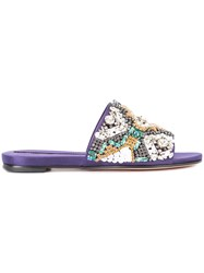 Rochas Crystal Embellished Mules Leather Satin Sable Hair Sequin Pink Purple