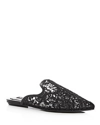 Jaggar Womens' Aside Lace Pointed Toe Mules Black