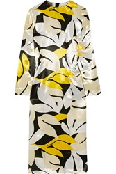 Marni Printed Satin Dress Yellow White
