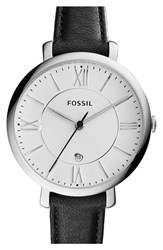 Women's Fossil 'Jacqueline' Round Leather Strap Watch 36Mm Black White