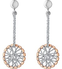 Links Of London Sterling Silver And 18Ct Rose Gold Vermeil Dream Catcher Drop Earrings Mixed Metal