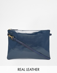 Jack Wills Clutch Bag With Detachable Chain In Patent Navy