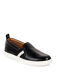 Bally Round Toe Striped Leather Loafers Black