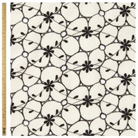 Unbranded Cutwork Flower Print Fabric White Black