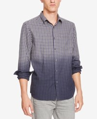 Kenneth Cole New York Men's Two Toned Dip Dyed Gingham Shirt Light Pastel Blue