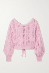 Loveshackfancy Eugenia Cropped Bow Embellished Metallic Open Knit Sweater Pink