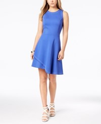 Bar Iii Contrast Stitch Layered Hem Fit And Flare Dress Created For Macy's Cobalt