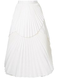 Eavis And Brown Pleated Midi Skirt White
